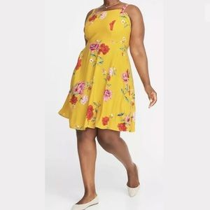 NEW Yellow Print, Fit & Flare Dress